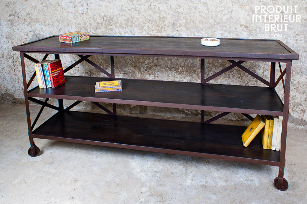 Detroit console - Vintage style, made entirely of wood and | pib