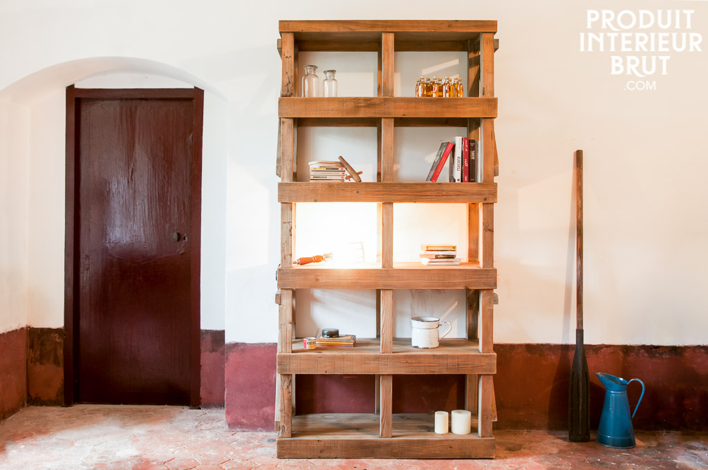 Library Ermenonville - Wooden workshop style furniture | pib