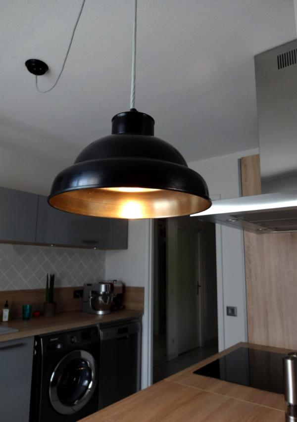 Black-bare metal ceiling light 31cm