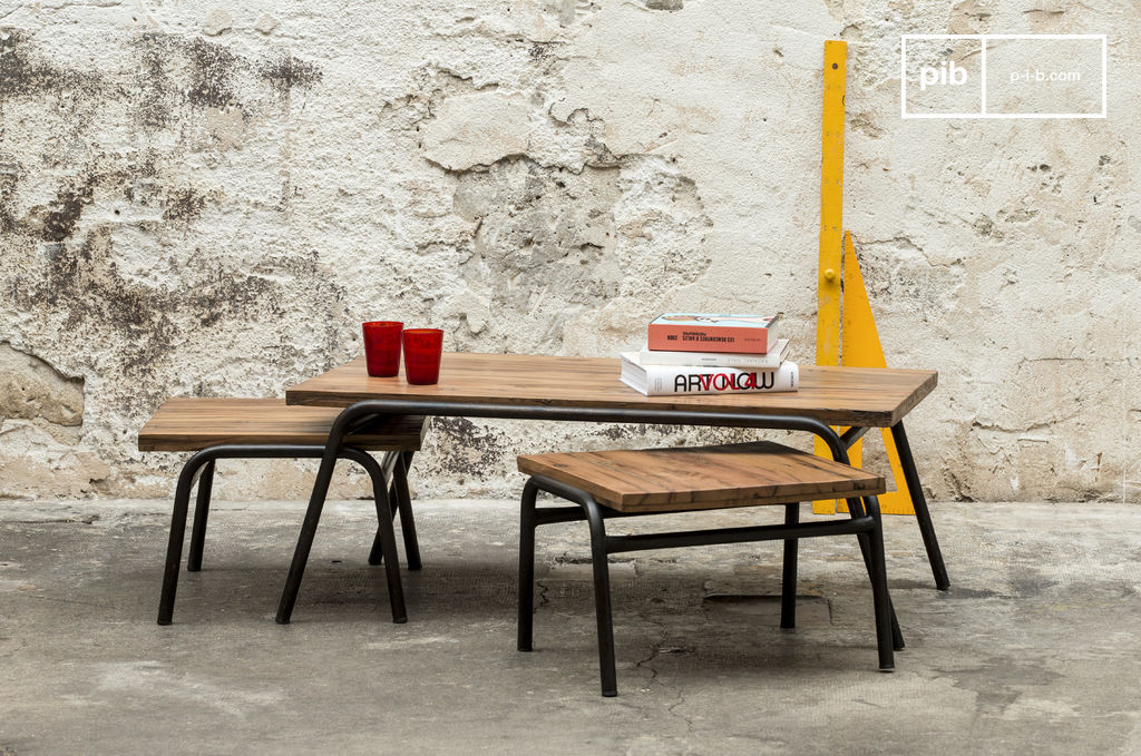 Regular coffee table steel and raw wood sober line pib for Table basse industrielle tiroir