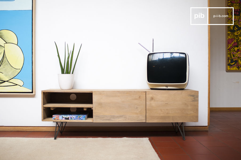 wooden tv stand zurich dark metal legs light wood pib. Black Bedroom Furniture Sets. Home Design Ideas
