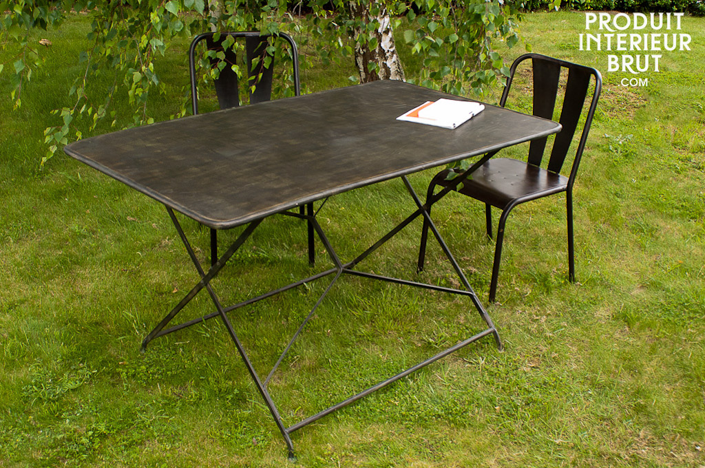 compi gne garden table entirely metal folding table slightly distressed. Black Bedroom Furniture Sets. Home Design Ideas
