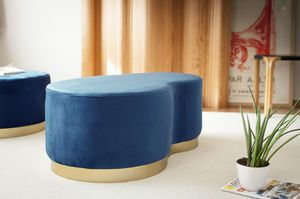 Blue velvet Bean two-seater pouf