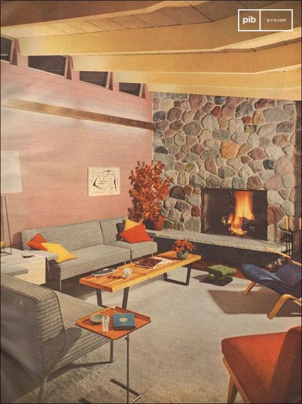 1953 Modern Living Room with Stone Fireplace - scanned spread of Better Homes and Gardens.