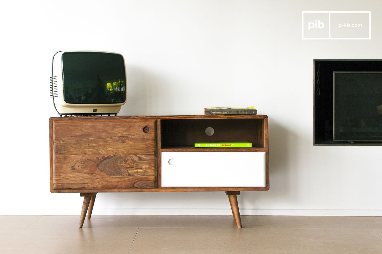 Stockholm Tv Table 1950s Design Solid Acacia Wood Pib # Meuble Console Tv