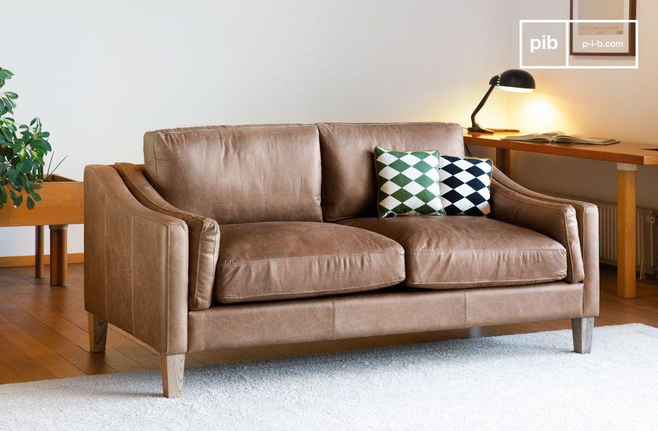 The Heidsieck cinnamon sofa is made of full grain 100% aniline leather