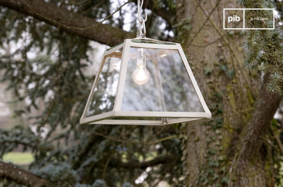 This glass pane suspension light exudes reclaimed style and charm, with its distressed beige metal frame