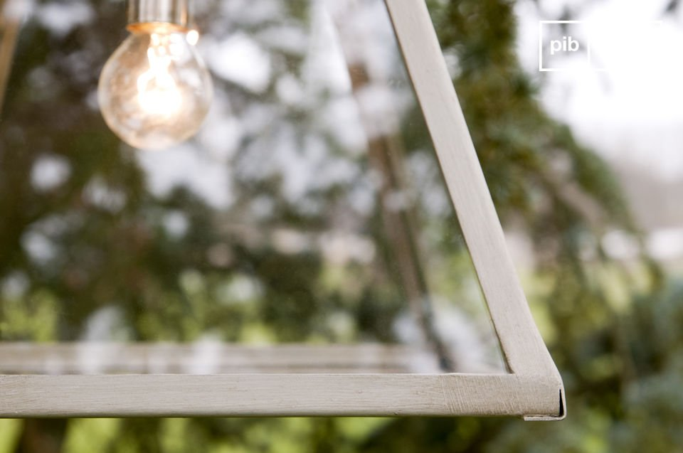 This glass pane suspension light exudes reclaimed style and charm
