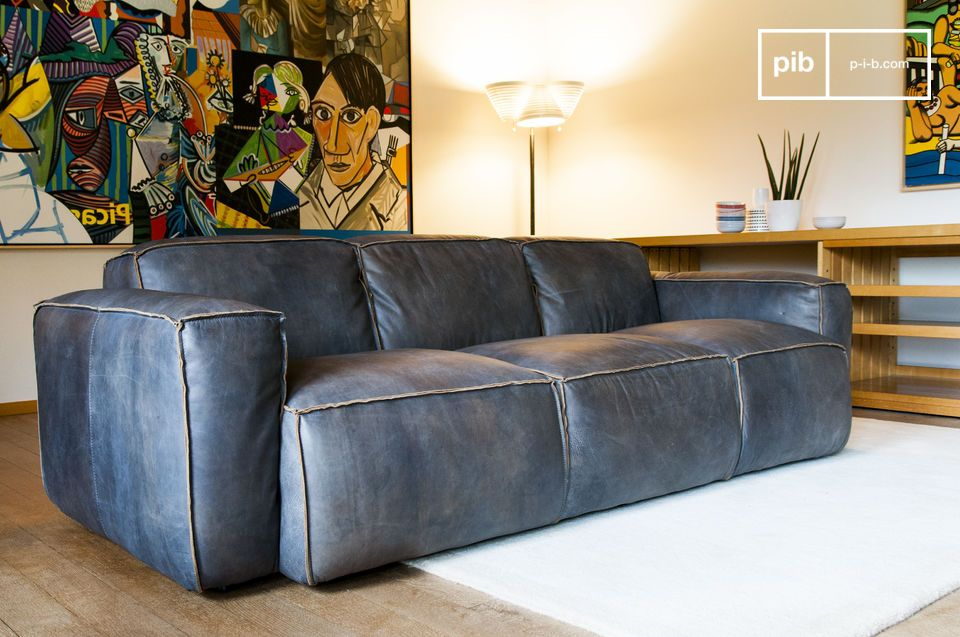 Scandinavian sofa made out of full grain leather in vintage look