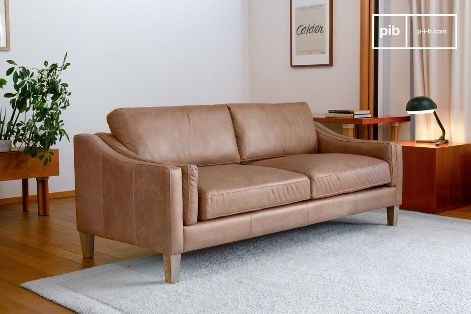 Large full grain leather sofa in sand colour