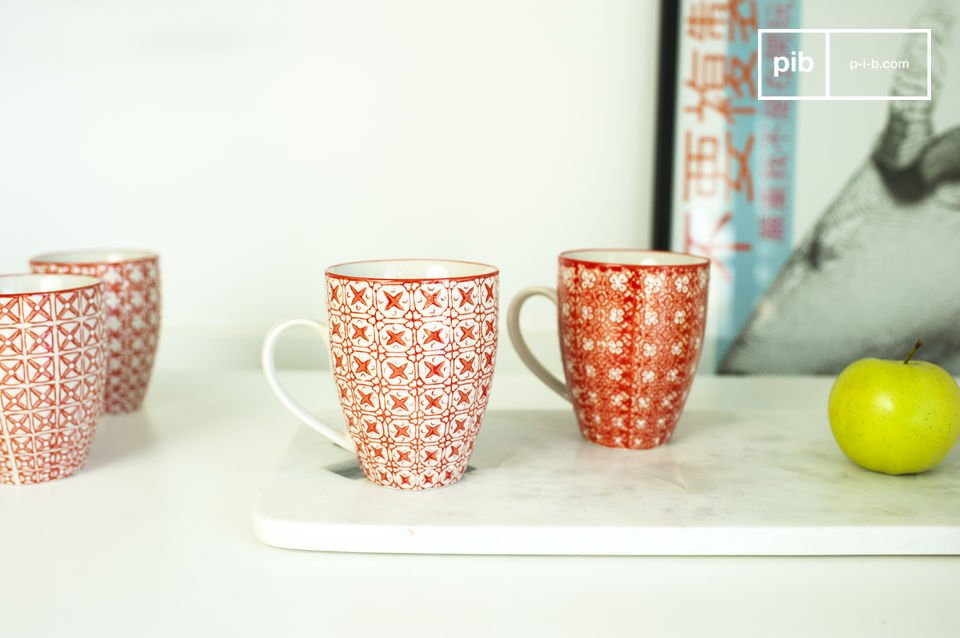Beautiful cups with romantic decorative elements