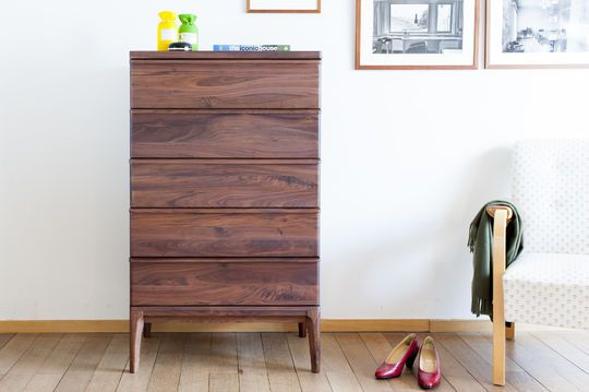 5 drawers Hemët walnut sideboard
