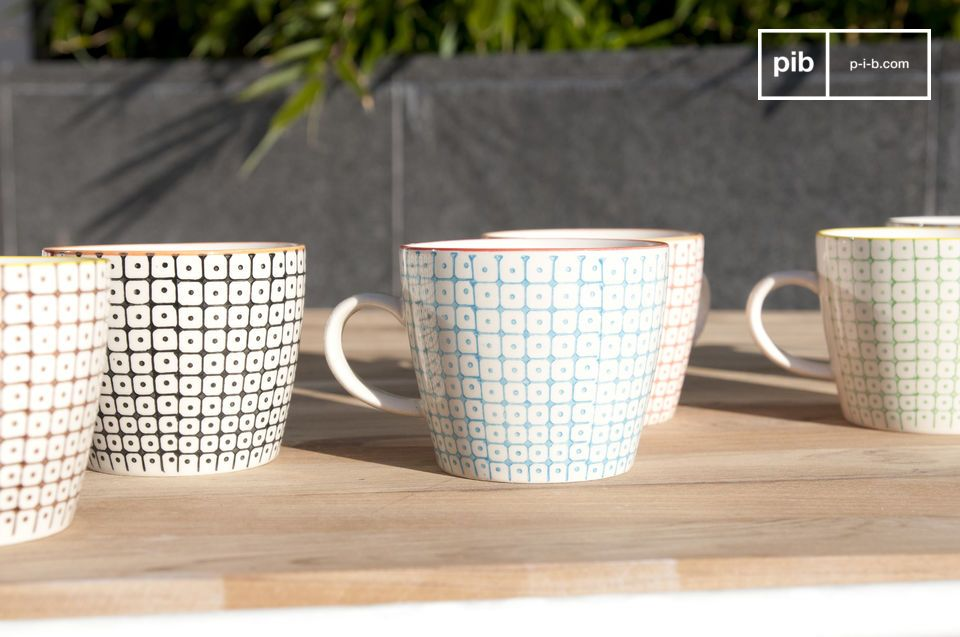 Nice batch of colorful cups with geometric patterns.