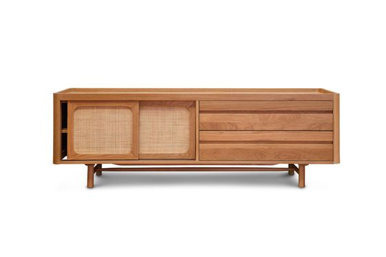 Aarne TV cabinet in light oak Clipped