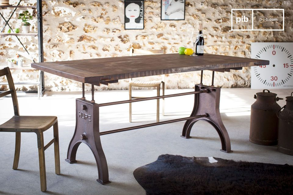Beautiful dining table with vintage industrial lines.