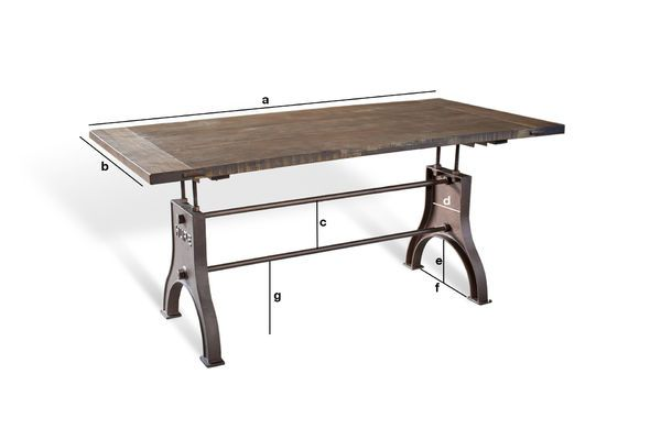 Product Dimensions Adjustable Industrial table Silver Lake