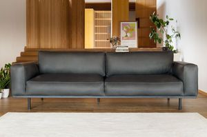 Almond 3-seater sofa in graphite leather