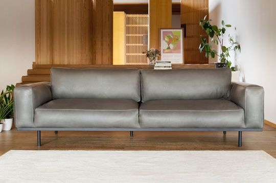 Almond 3-seater sofa in grey leather