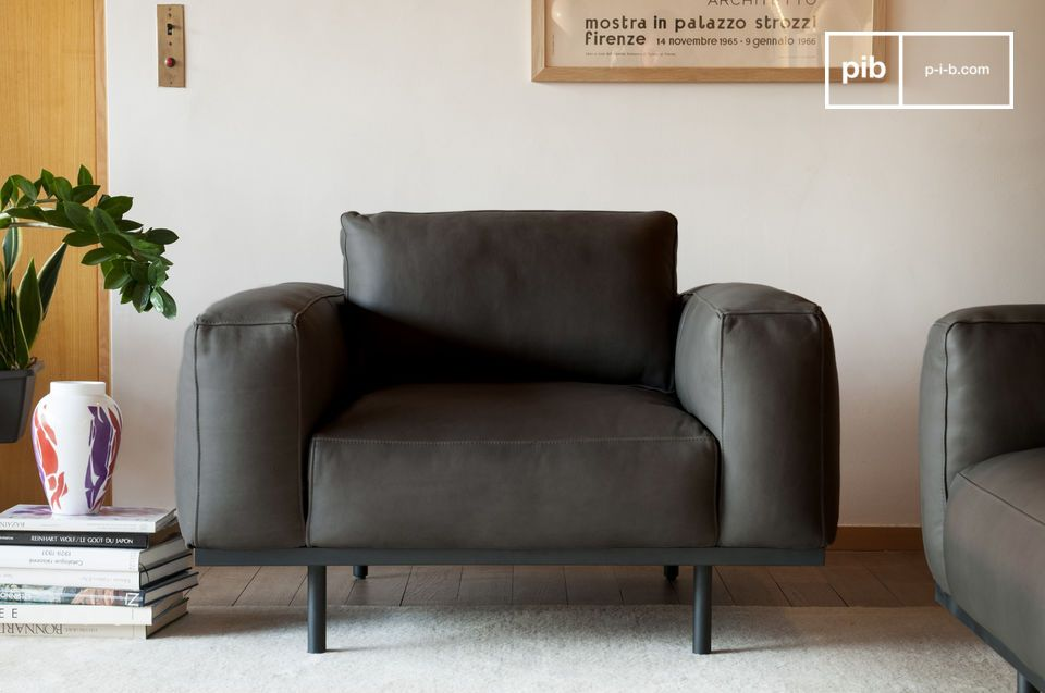 Almond armchair in graphite leather