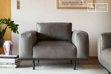 Almond armchair in grey leather