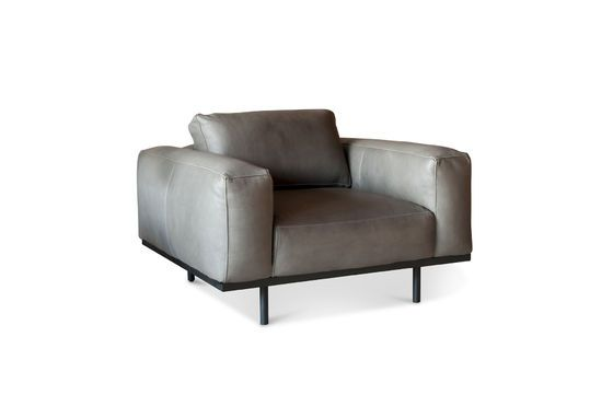 Almond armchair in grey leather Clipped
