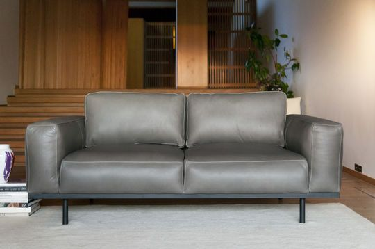 Almond grey leather sofa