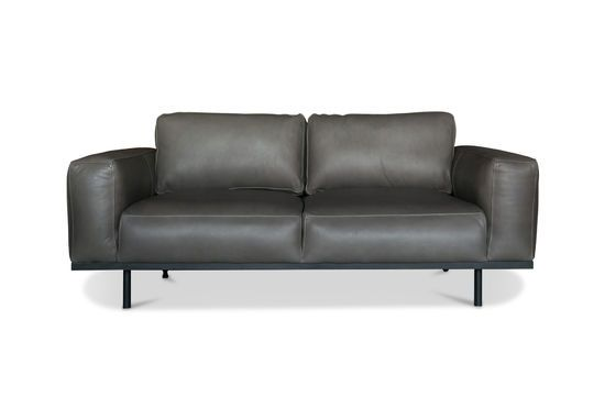 Almond grey leather sofa Clipped