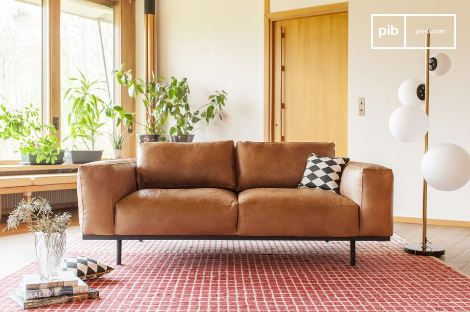 Almond sofa in brown leather - 7