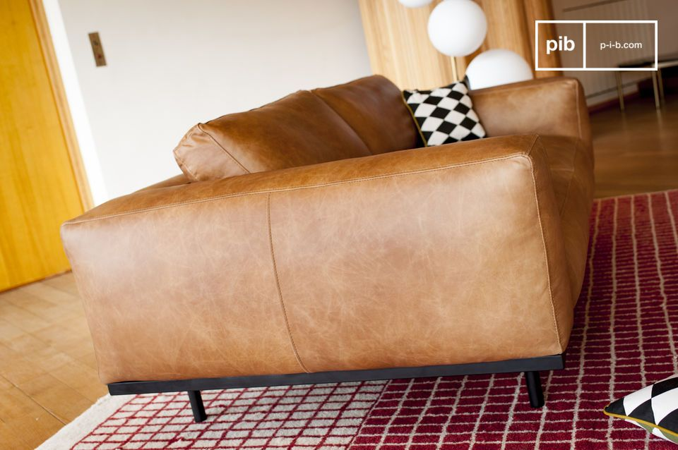 Almond sofa in brown leather - 6