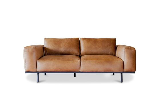 Almond sofa in brown leather Clipped