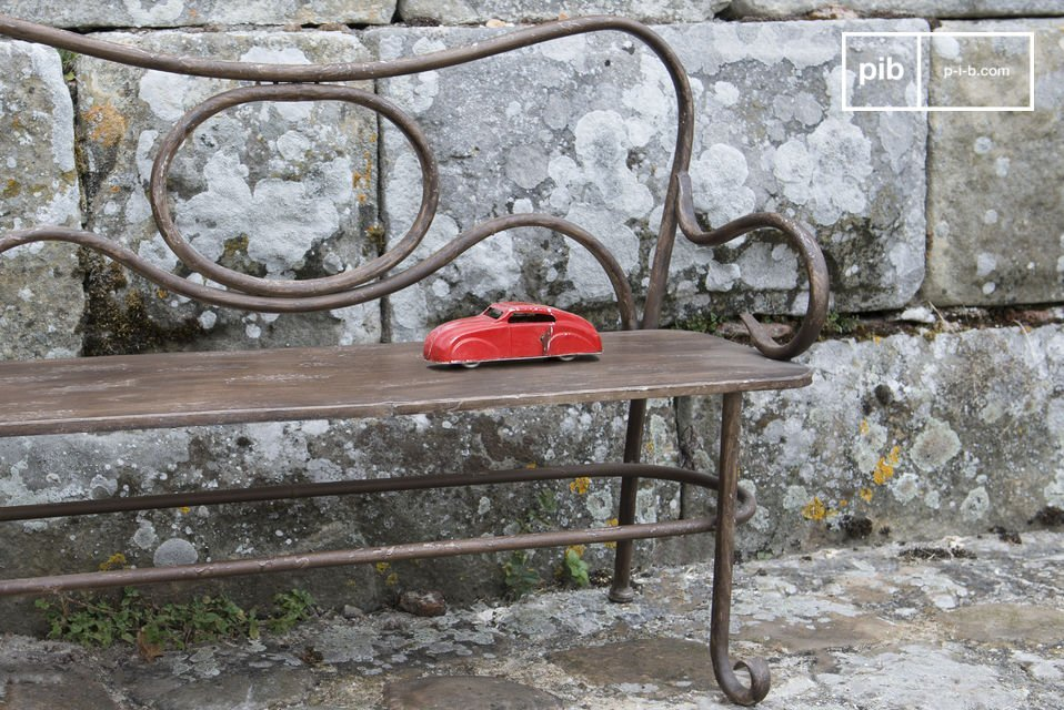 A bench for kids designed with painted metal for your interior or your exterior