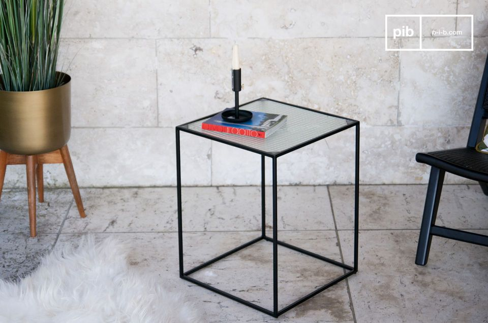 An amazing Cuban industrial style side table in granite glass.