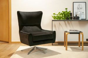 Anthracite velvet swivel chair Balmat