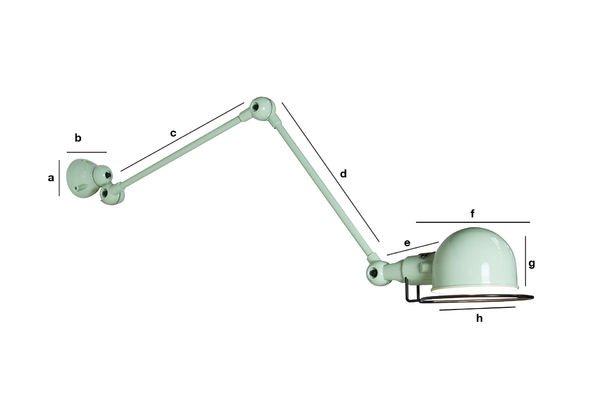 Product Dimensions Applique Jieldé Signal vert d'eau