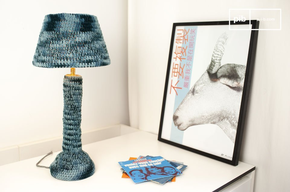 Beautiful blue textile lamp, full of softness.