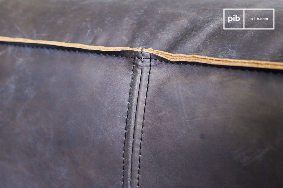 From a distance the seams look like rough piping which gives this sofa its unquestioned industrial appeal