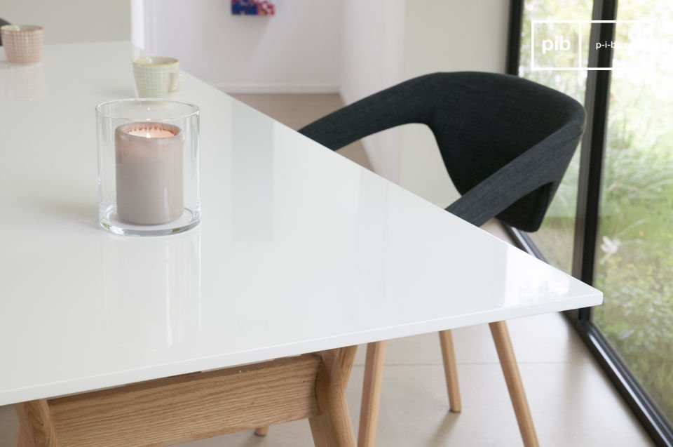 Easy to maintain with rugged paint covering it, and welcoming by its large size, it\'s a table you will enjoy every day, both in its aesthetics and its practical ways