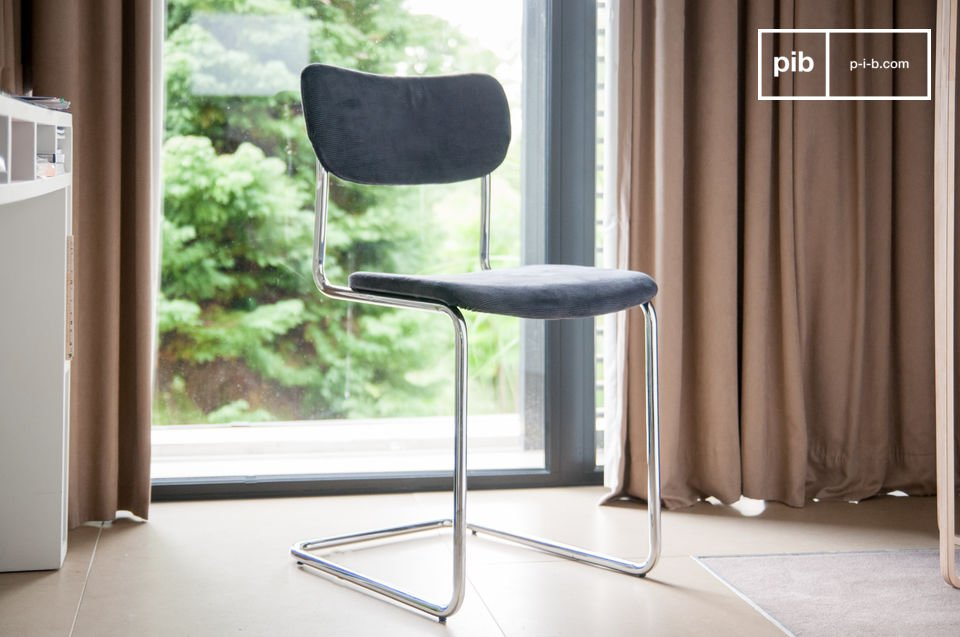 The Back in Norway chair is a beautiful combination of a chrome structure and trendy retro corduroy fabric