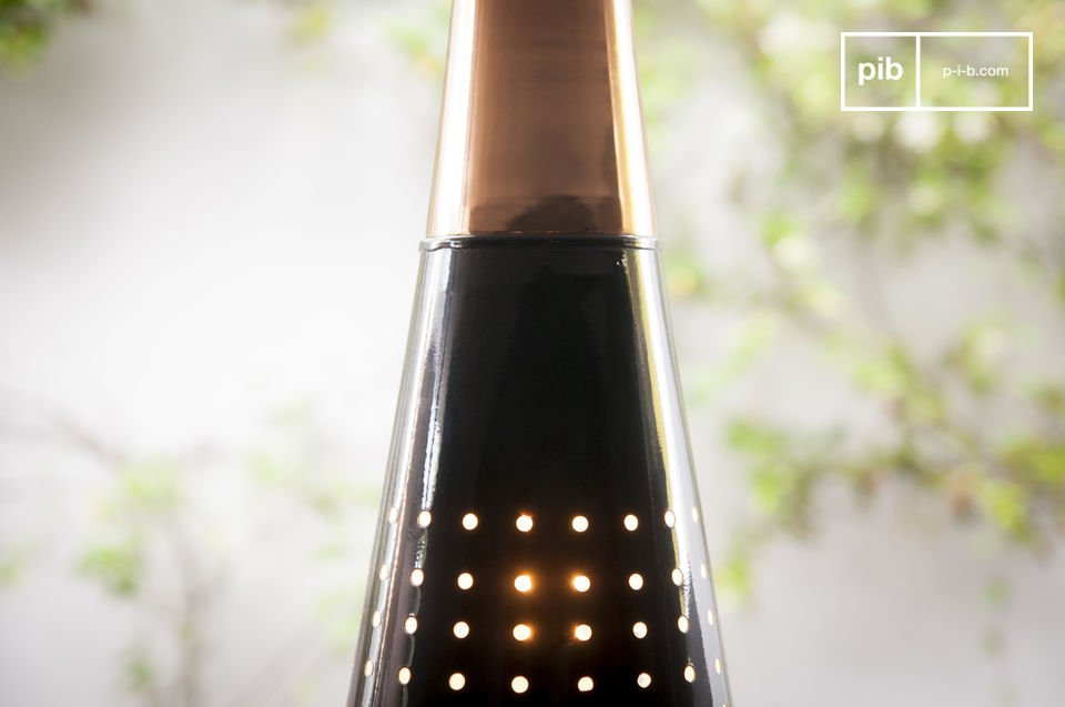 The lower part of the lamp is covered with a glossy black colour