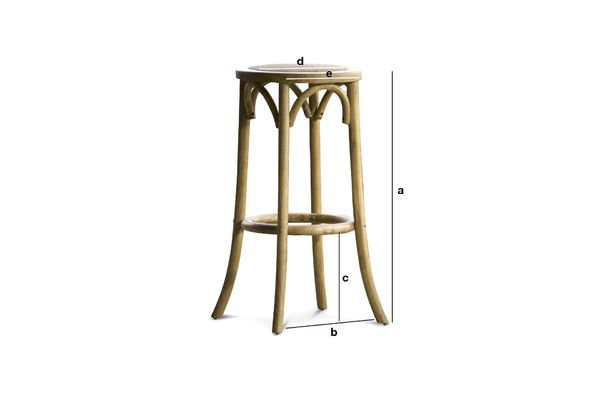 Product Dimensions Bar stool Pampelune with natural finish