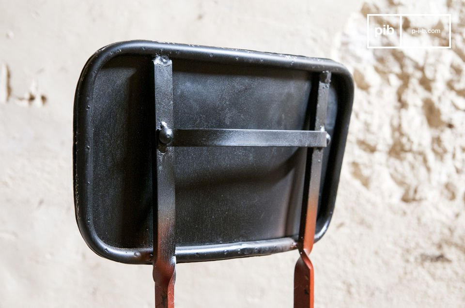 The chair is made of metal and has a beautiful combination of colours