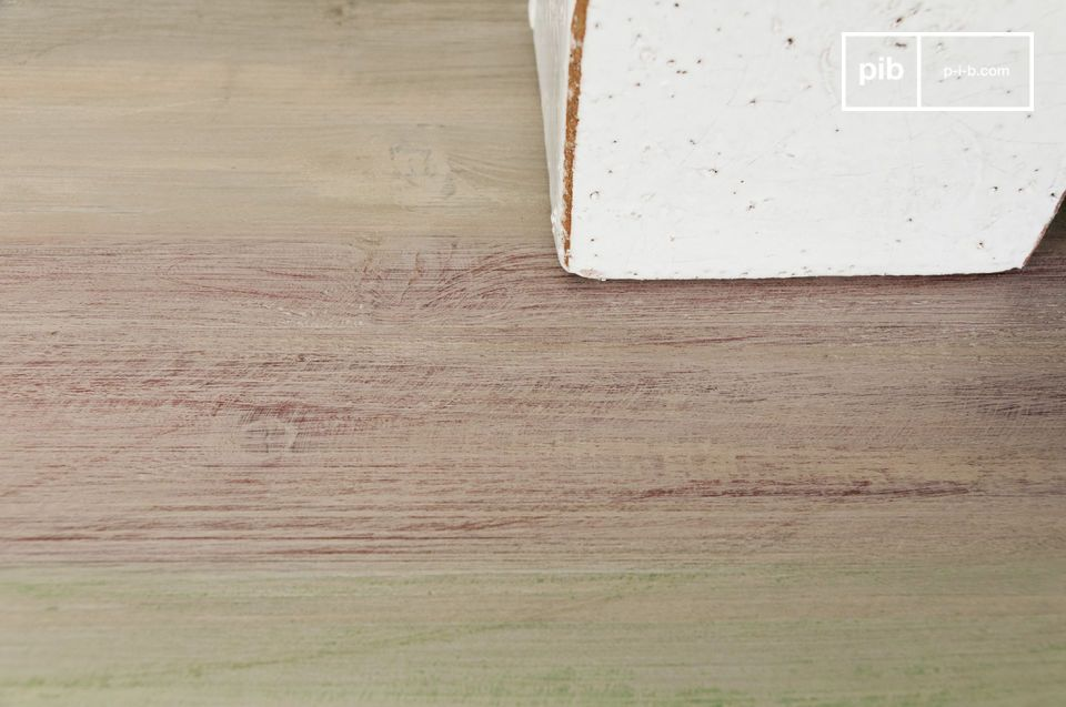 This console\'s distressed wood top will add a rustic touch to your interior