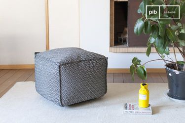Big black-white Pouf Cabourg