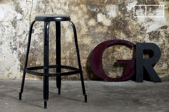 Black bar stool with rivets