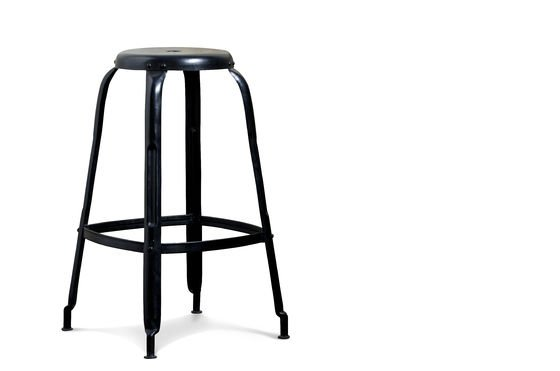 Black bar stool with rivets Clipped