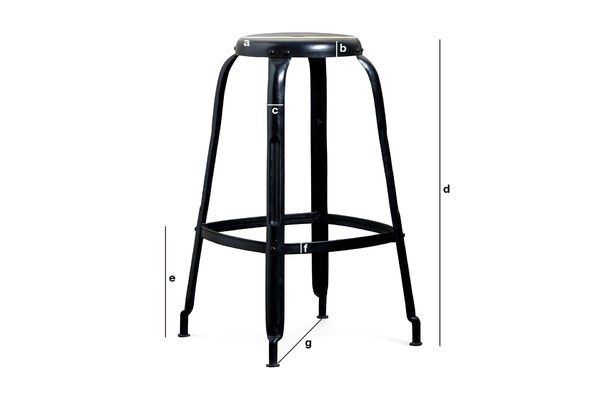 Product Dimensions Black bar stool with rivets