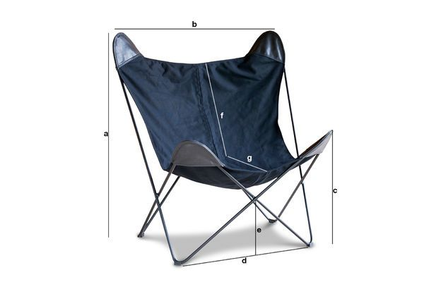 Product Dimensions Black Colina Canvas Armchair