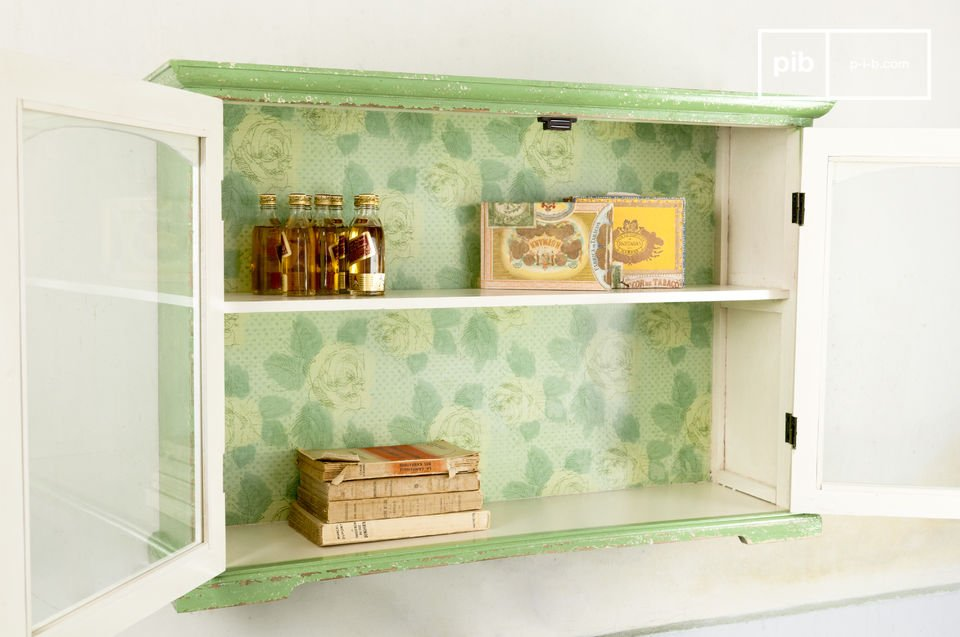 Glass-fronted shelving with a soft rustic feel