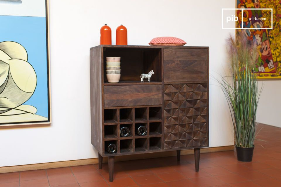 This retro Scandinavian style storage cabinet is made entirely of fine wood