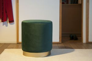 Brass and green velvet pouf Dallas